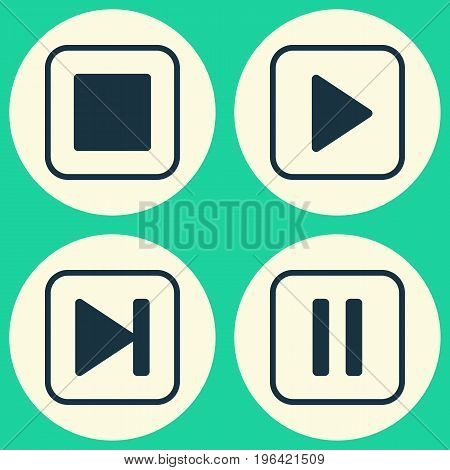 Multimedia Icons Set. Collection Of Start Song, Stop Button, Skip Song And Other Elements