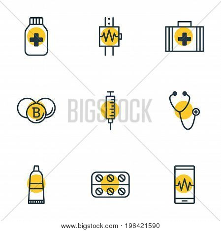 Vector Illustration Of 9 Medicine Icons. Editable Pack Of Phone Monitor, Medicine Jar, Vaccinator And Other Elements.