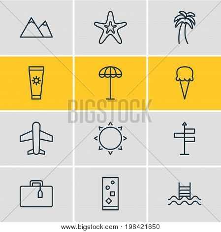 Editable Pack Of Anti-Sun Cream, Guide, Airplane And Other Elements. Vector Illustration Of 12 Summer Icons.