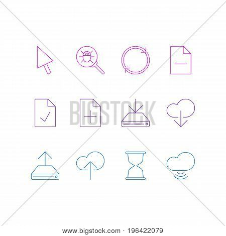 Editable Pack Of Hdd Sync, Document Adding, Cloud Download And Other Elements. Vector Illustration Of 12 Internet Icons.