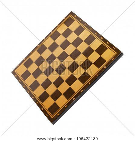 image of one wooden empty chessboard isolated
