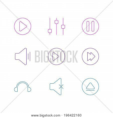 Editable Pack Of Audio, Advanced, Earphone And Other Elements. Vector Illustration Of 9 Music Icons.
