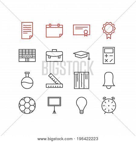 Vector Illustration Of 16 Studies Icons. Editable Pack Of Cap, Calculate, Bookshelf And Other Elements.