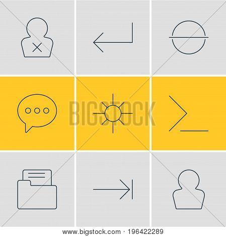 Vector Illustration Of 9 User Icons. Editable Pack Of Message, Banned Member, Remove And Other Elements.