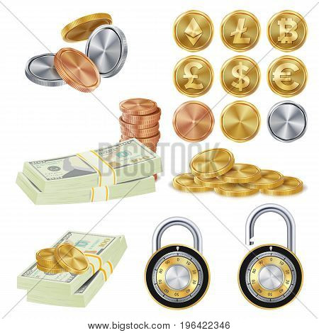 Money Secure Concept Vector. Metal Coin, Money Banknotes Stacks, Encryption Padlock. Dollar, Euro, GBP, Rupee, Franc, Yuan Won Commercial Investment Illustration Isolated On White