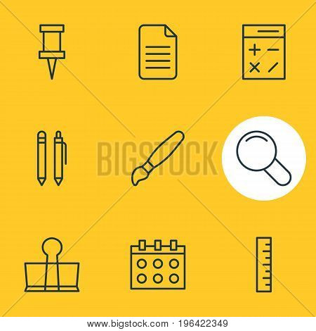 Editable Pack Of Meter, Calculate, Pushpin And Other Elements. Vector Illustration Of 9 Tools Icons.