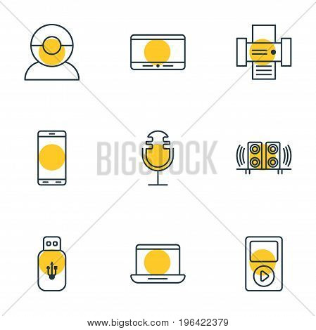 Vector Illustration Of 9 Device Icons. Editable Pack Of Loudspeaker, Video Chat, Monitor And Other Elements.