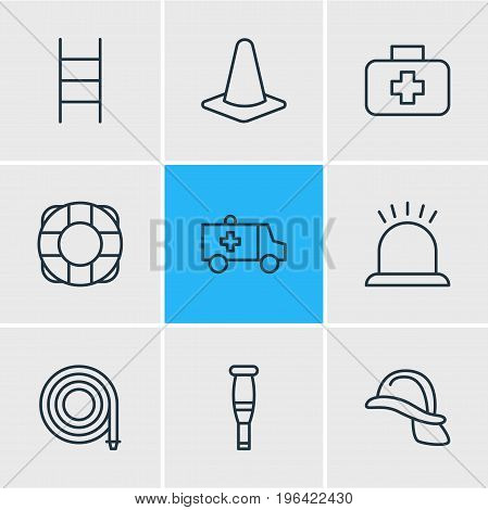 Vector Illustration Of 9 Extra Icons. Editable Pack Of Lifesaver, Hardhat, Taper And Other Elements.