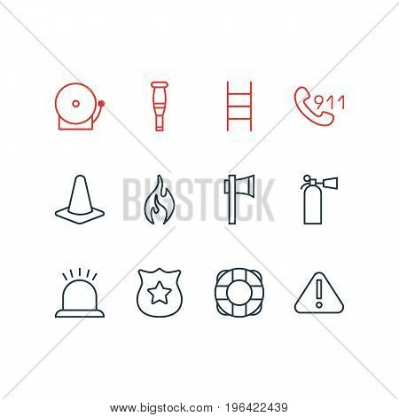Editable Pack Of Safety, Siren, Taper And Other Elements. Vector Illustration Of 12 Necessity Icons.