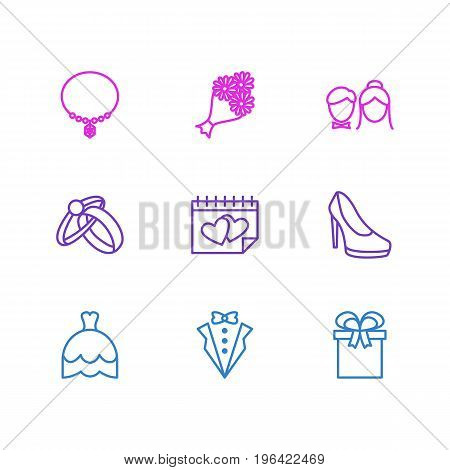 Vector Illustration Of 9 Engagement Icons. Editable Pack Of Present, Bridal Bouquet, Couple And Other Elements.