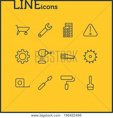 Editable Pack Of Handcart, Hacksaw, Measure Tape Elements. Vector Illustration Of 12 Industry Icons.