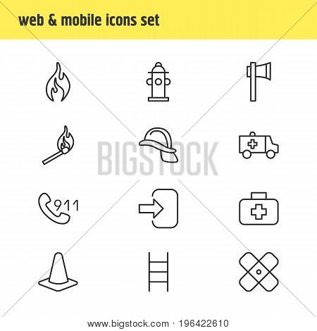 Editable Pack Of Hotline, Water, Fire And Other Elements. Vector Illustration Of 12 Necessity Icons.