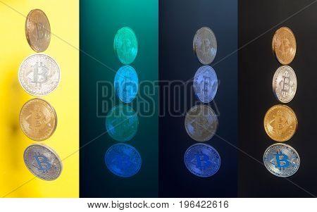 Virtual coins bitcoins collection . E-business concept .