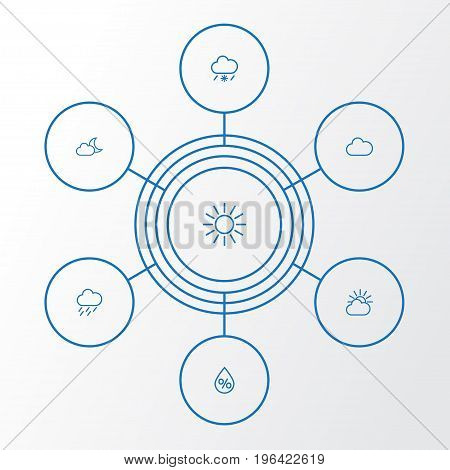 Air Outline Icons Set. Collection Of Drop, Cloud, Drizzle And Other Elements