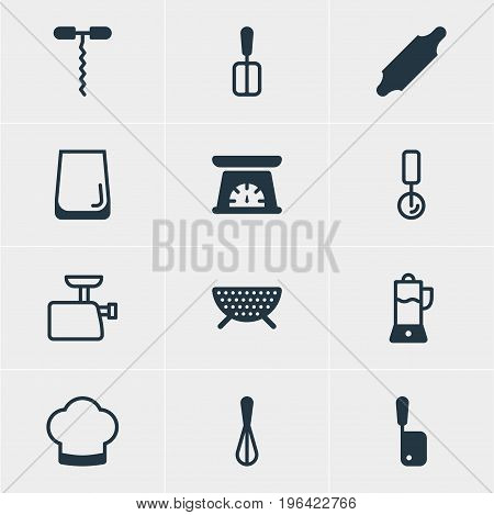 Vector Illustration Of 12 Restaurant Icons. Editable Pack Of Wine Opener, Fruit Squeezer, Cooking Spade And Other Elements.
