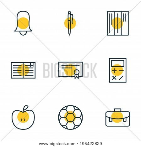 Vector Illustration Of 9 Science Icons. Editable Pack Of Jingle, Fruit, Pencil And Other Elements.