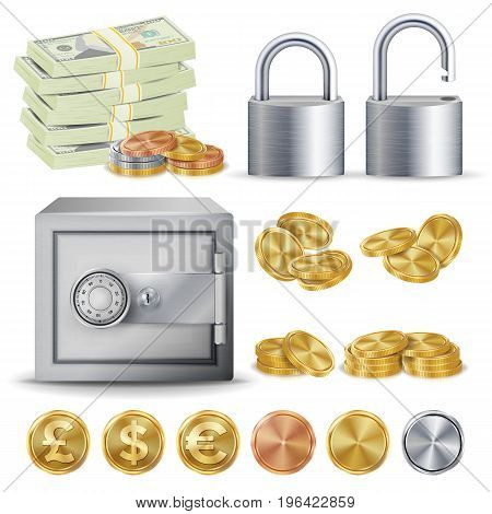Finance Secure Concept Vector. Gold, Silver, Copper Metal Coins Blank, Money Banknotes Stacks, Padlock, Safe. Dollar, Euro GBP Business Investment
