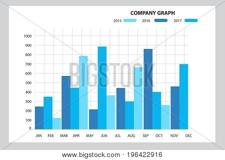 Stock market chart. Business graph background. 2d illustration