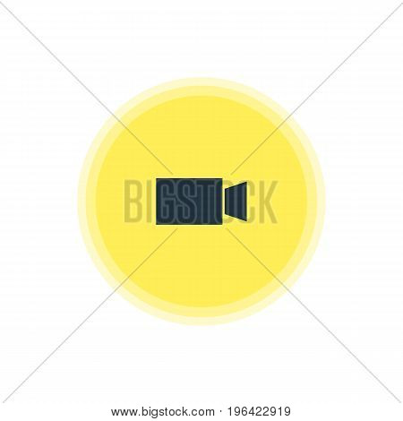 Beautiful Internet Element Also Can Be Used As Video Camera Element. Vector Illustration Of Camcorder Icon.