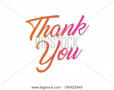 The colorful gradient isolated hand writing word THANK YOU on white background