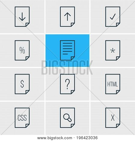 Editable Pack Of Percent, Basic, Done And Other Elements. Vector Illustration Of 12 Document Icons.