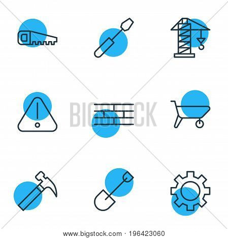 Vector Illustration Of 9 Structure Icons. Editable Pack Of Hacksaw, Handcart, Cogwheel Elements.