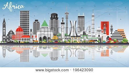 Africa Skyline with Famous Landmarks and Reflections. Business Travel and Tourism Concept. Image for Presentation, Banner, Placard and Web Site.