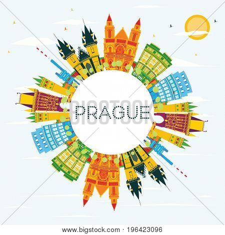 Prague Skyline with Color Buildings, Blue Sky and Copy Space. Business Travel and Tourism Concept with Historic Architecture. Image for Presentation Banner Placard and Web.