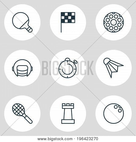 Editable Pack Of Pawn, Pong, Racer Hat And Other Elements. Vector Illustration Of 9 Sport Icons.