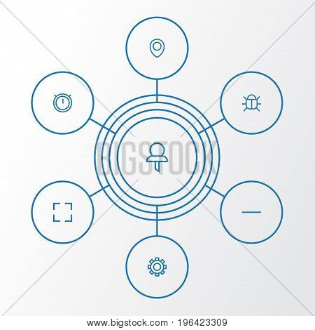 User Outline Icons Set. Collection Of Pin, Full Screen, Location And Other Elements