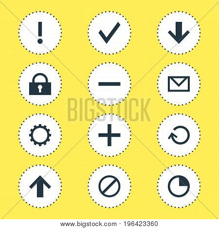 Editable Pack Of Access Denied, Cogwheel, Letter And Other Elements. Vector Illustration Of 12 Interface Icons.