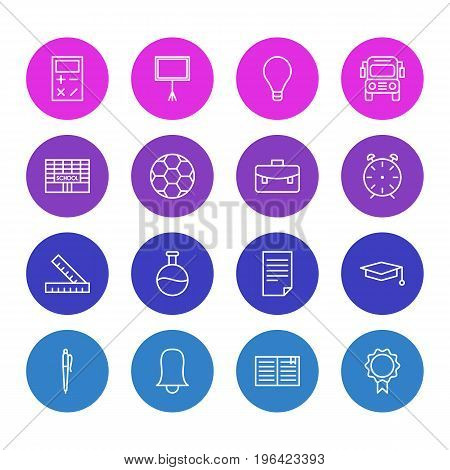 Editable Pack Of Write Table, School, Portfolio And Other Elements. Vector Illustration Of 16 Studies Icons.