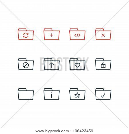 Editable Pack Of Information, Recovery, Closed And Other Elements. Vector Illustration Of 12 Document Icons.