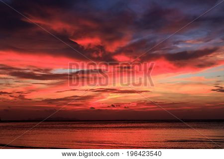 Wonderful Colorful Dramatic Sunset in Phuket Thailand