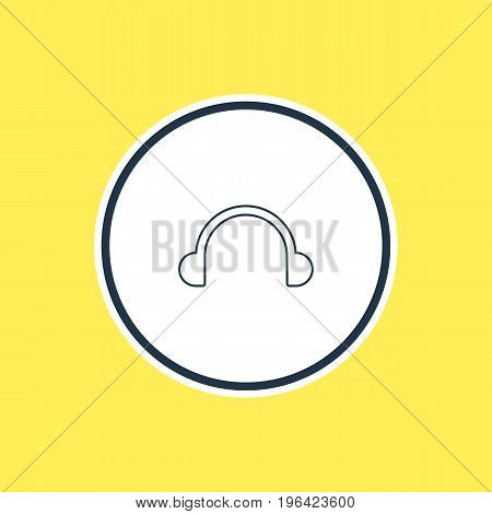 Vector Illustration Of Headphones Outline. Beautiful Music Element Also Can Be Used As Earphone Element.