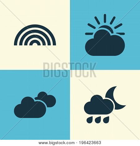 Climate Icons Set. Collection Of Colors, Weather, Sun-Cloud And Other Elements