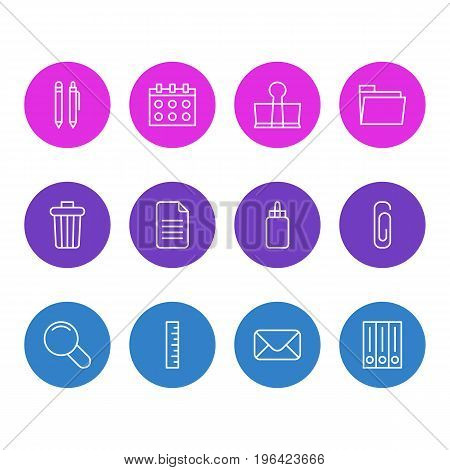 Editable Pack Of Adhesive, Pencil, Date And Other Elements. Vector Illustration Of 12 Instruments Icons.
