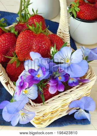 Fresh ripe strawberries and pansies in a wicker basket. Close-up