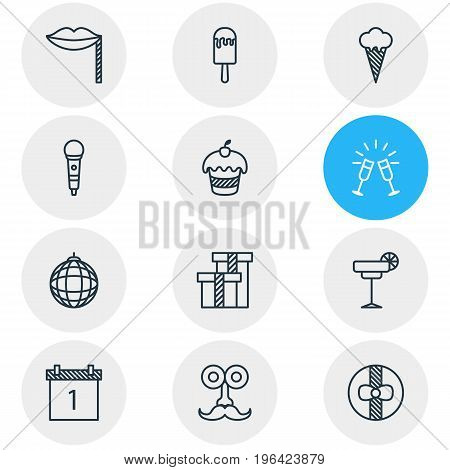 Editable Pack Of Date Block, Goblet, Martini And Other Elements. Vector Illustration Of 12 Party Icons.