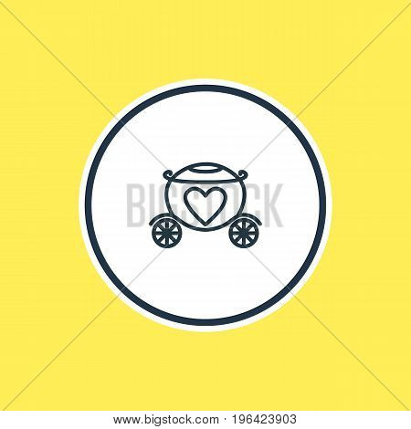 Vector Illustration Of Brougham Outline. Beautiful Wedding Element Also Can Be Used As Chariot Element.