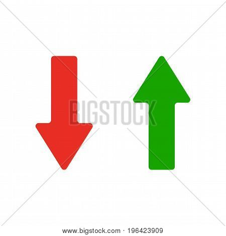 Red and Green Arrow Icon. Vector illustration. Symbols of moving up and down