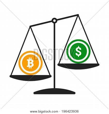 Bitcoin vs dollar vector concept with balance scales.