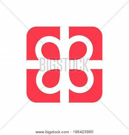 Gift present giftbox with ribbon abstract flat vector icon red on white background