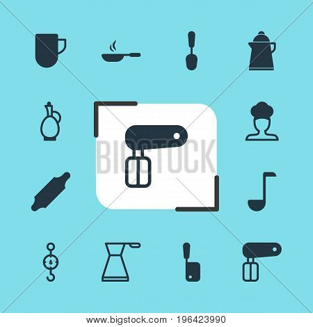 Editable Pack Of Bakery Roller, Carafe, Tea Cup And Other Elements. Vector Illustration Of 12 Cooking Icons.