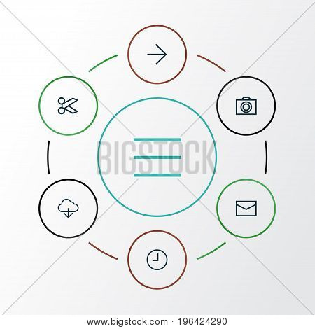 Interface Outline Icons Set. Collection Of Storage, Camera, List And Other Elements
