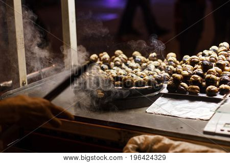 roasted chestnuts are a street food in Istanbul, Turkey.