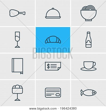 Editable Pack Of Card, Seafood, Dessert And Other Elements. Vector Illustration Of 12 Eating Icons.