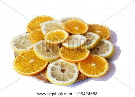 fresh tasty colorful closeup orange and lemon in a white background