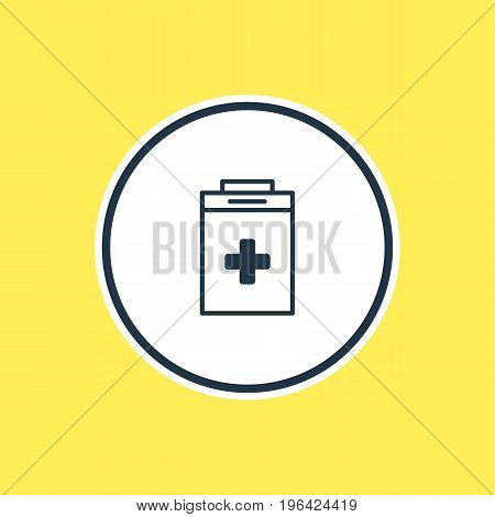 Beautiful Medicine Element Also Can Be Used As Exigency Element. Vector Illustration Of Medical Kit Outline.