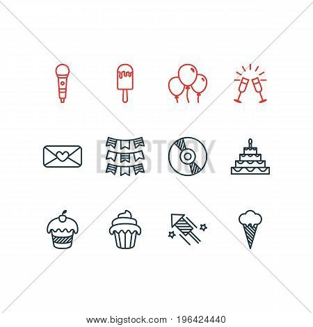 Editable Pack Of Compact Disk, Muffin, Firecracker And Other Elements. Vector Illustration Of 12 Banquet Icons.